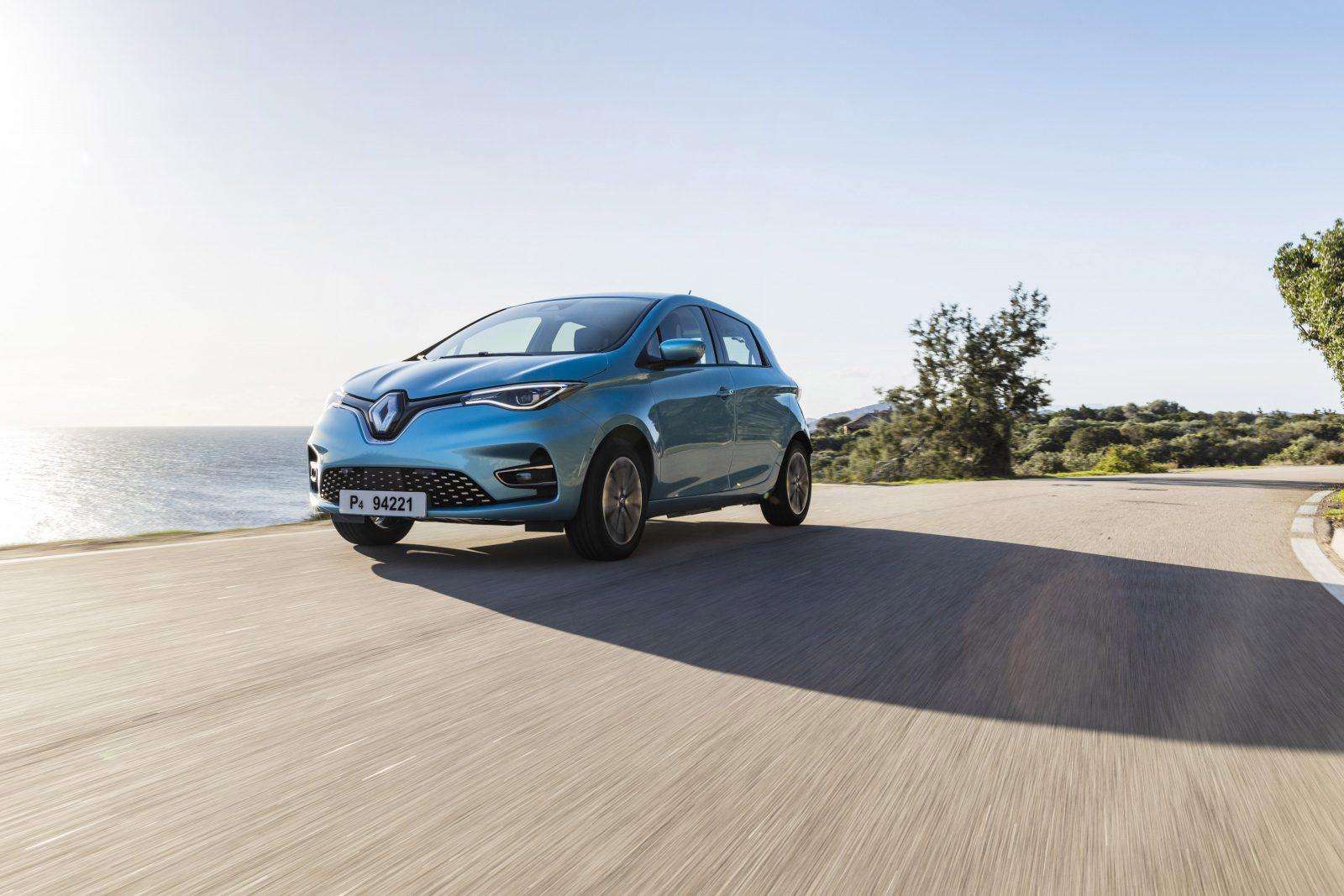 Renault ZOE driekwart voor rijdend