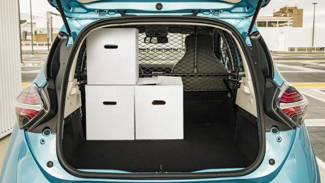 Renault ZOE Cargo bagageruimte met drie dozen