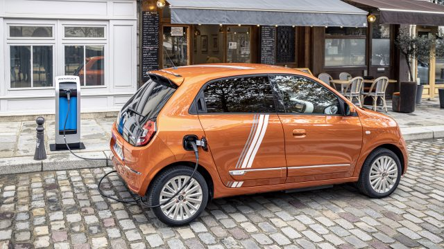 Renault TWINGO Electric schuinachter oranje