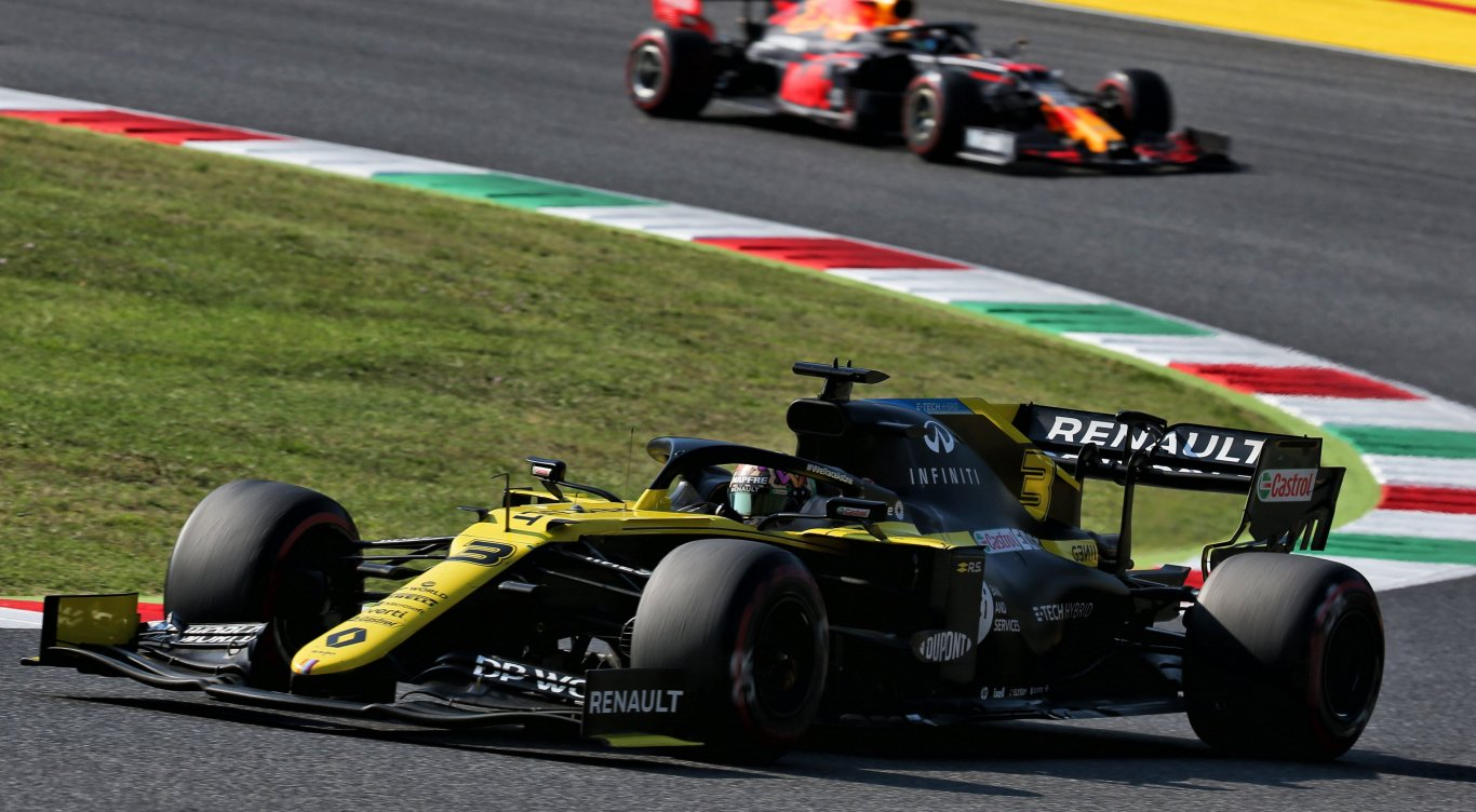 Daniel Ricciardo in zijn Formule 1 auto tijdens Grand Prix van Italië